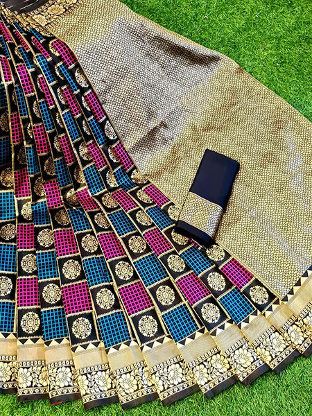 Buy Black and Pink Soft Silk Checks Saree Online from YOYO Fashion