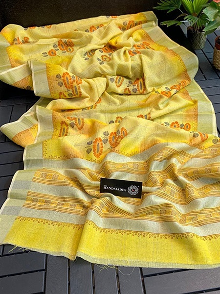 Buy Yellow Linen Silk Floral Printed Saree Online from YOYO Fashion