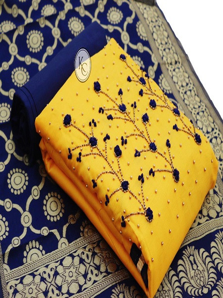 Buy Yellow and Blue Cotton Suit with Banarasi Dupatta Online from YOYO Fashion