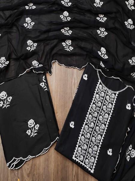 Buy Designer Black Cotton Dress Material Online from YOYO Fashion