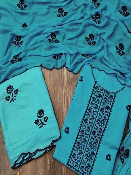 Blue Cotton Unstitched Dress Material