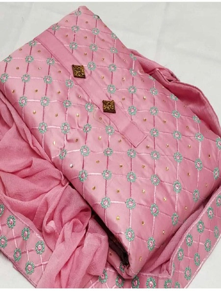 Buy Pink Embroidered Cotton Salwar Suit Online from YOYO Fashion