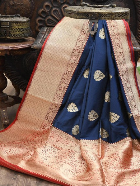 Navy Blue and Red Women Banarasi Silk Saree for Diwali
