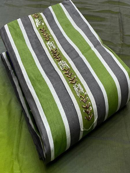 Buy Grey and Green Chanderi Silk Salwar Suit Online from YOYO Fashion