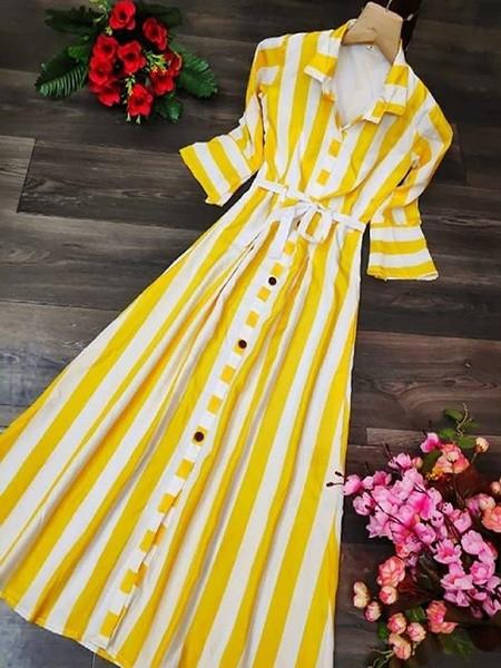 Yellow Rayon Long Western Kurti
