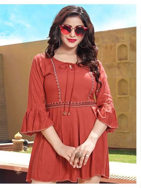 Buy Designer Red Rayon Ladies Top Online from YOYO Fashion