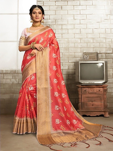 Buy Red Printed Linen Saree with Golden Border Online from YOYO Fashion