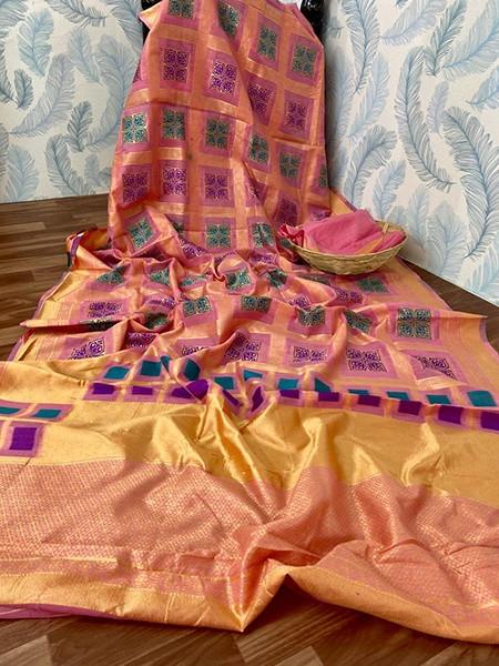 Pink Check Printed Cotton Silk Saree