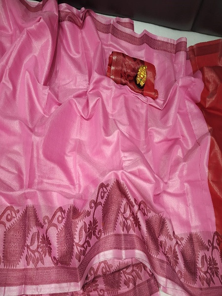 Buy Pink and Red Tissue Silk Border Saree Online from YOYO Fashion