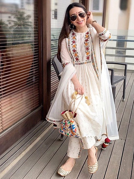 Buy Karishma Kapoor White Embroidered Kurta Set Online from YOYO Fashion