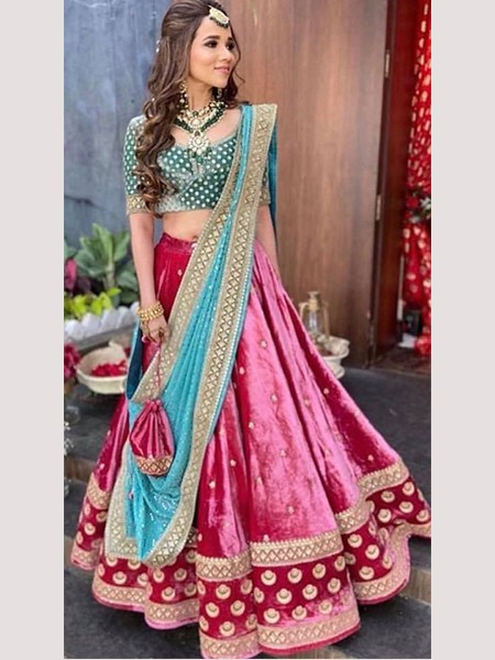 Buy Designer Pink and Green Velvet lehenga Choli Online from YOYO Fashion