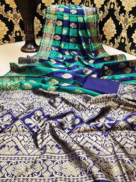 Buy Sea Green and Blue Checks Banarasi Silk Saree Online from YOYO Fashion