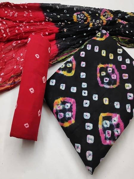 Buy Black and Red Cotton Bandhani Salwar Suit Online from YOYO Fashion