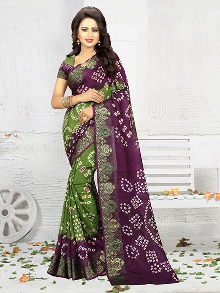 Buy Green and Purple Art Silk Bandhej Saree Online from YOYO Fashion