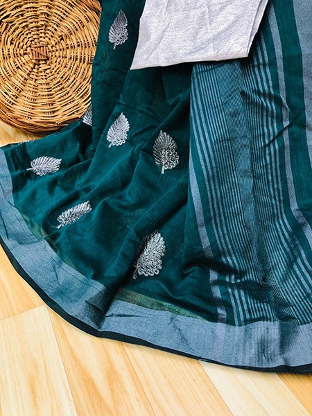 Buy Sea Green Embroidered Pure Cotton Linen Saree Online from YOYO Fashion