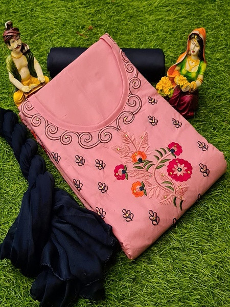 Buy Pink and Blue Cotton Embroidered Salwar Kameez Online from YOYO Fashion