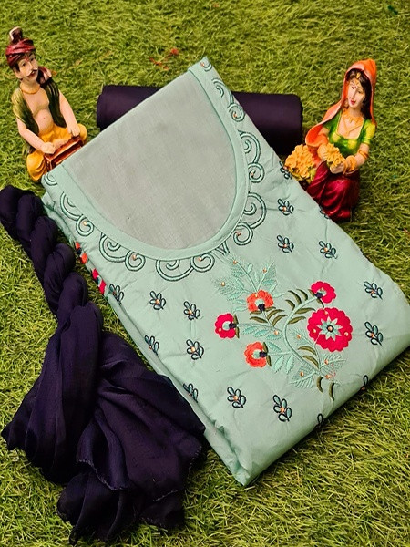 Buy Light Green and Blue Floral Embroidered Cotton suit Online from YOYO Fashion