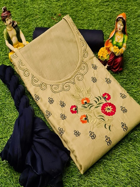 Beige  and Blue Cotton Embrodiered Dress Material