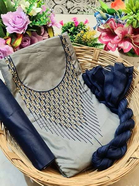Buy Grey and Blue Embroidered Cotton Salwar Kameez Online from YOYO Fashion