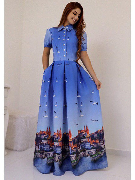 Buy Blue Printed Collar Neck Long Western Dress Online from YOYO Fashion