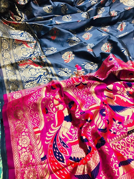 Buy Designer Grey and Pink Paithani Silk Saree Online from YOYO Fashion