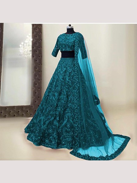 Buy Sea Green Party Wear Silk Engagement Lehenga Choli Online from YOYO Fashion