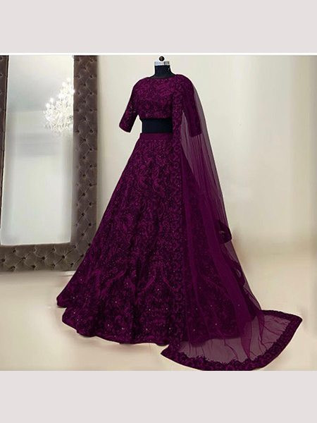Buy Designer Magenta Embroidered Silk Lehenga for Women Online from YOYO Fashion