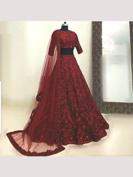 Buy Red Heavy Embroidered Bridal Wedding Lehenga Choli Online from YOYO Fashion