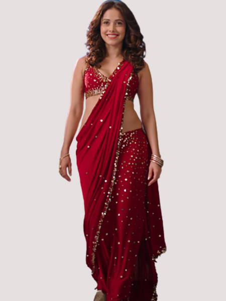 Latest Bollywood Style Nusrat Bharucha Red Saree Design