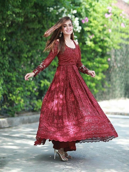 Buy Maroon Georgette Partywear Anarkali Suit Online from YOYO Fashion