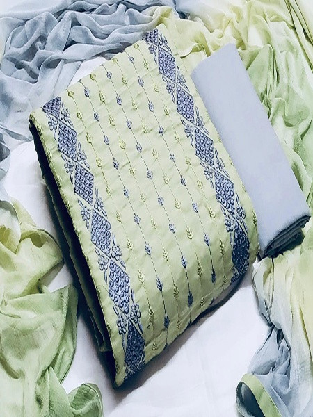 Buy Light Green and Grey Embroidered Dress Material Online from YOYO Fashion