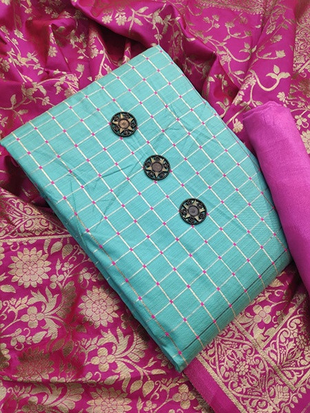 Buy Sky Blue and Pink Banarasi Silk Dress Material Online from YOYO Fashion
