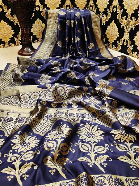 Buy Blue Golden Zari Wedding Pattu Silk Saree Online from YOYO Fashion