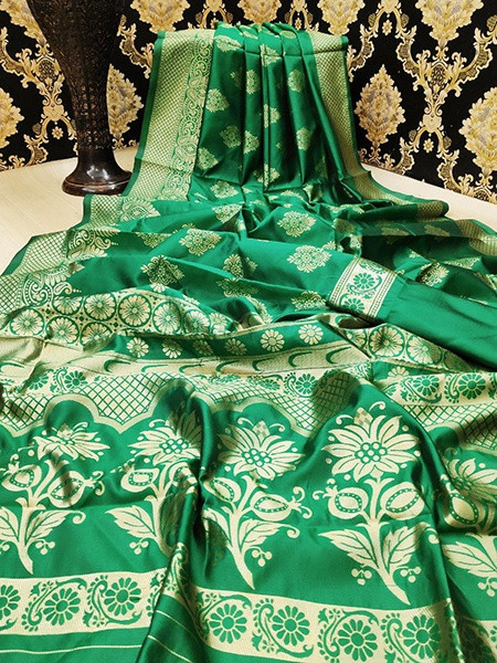 Buy Green Golden Zari Woven Pattu Silk Saree Online from YOYO Fashion