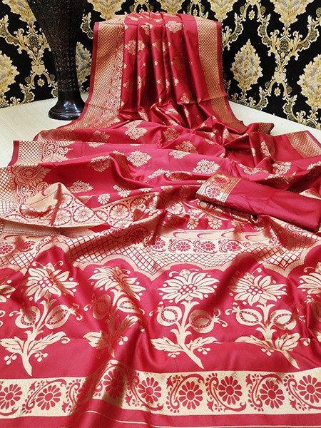 Buy Red Golden Zari Bridal Pattu Silk Saree Online from YOYO Fashion