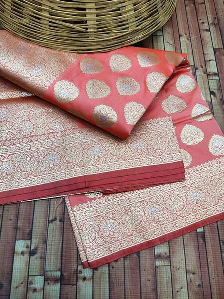 Buy Peach Handloom Pure Kanchipuram Silk Saree Online from YOYO Fashion