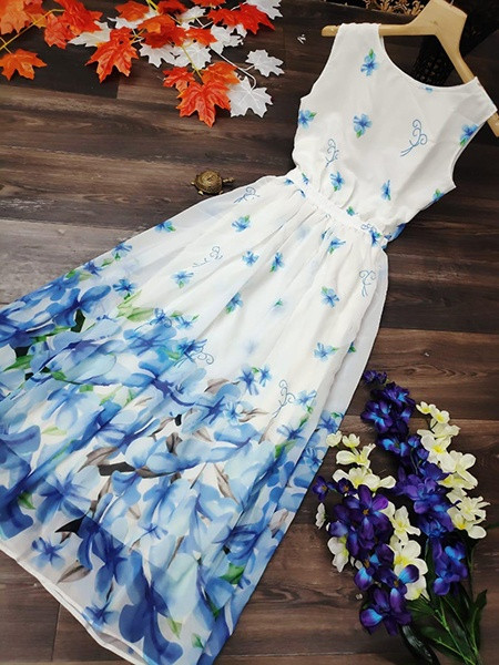 Whie and Blue Party Wear Dress