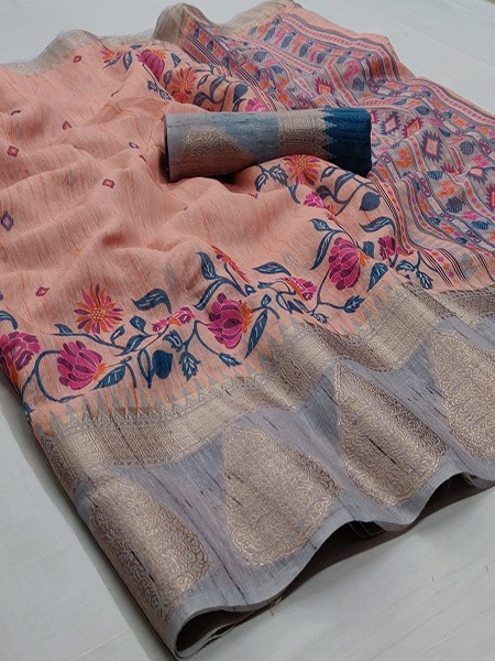 Buy Peach and Grey Printed Linen Silk Saree Online from YOYO Fashion