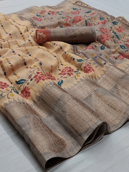 Buy Beige and Grey Floral Printed Linen Saree Online from YOYO Fashion