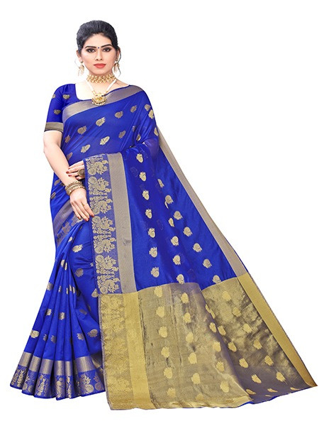 Buy Navy Blue Banarasi Silk Jacquard Saree Online from YOYO Fashion