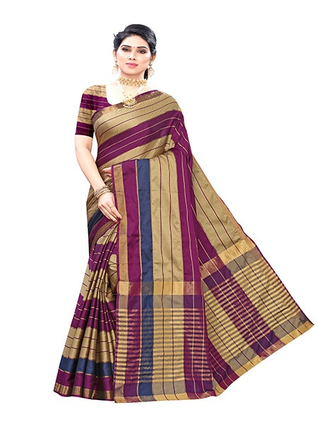 Buy Purple Striped Cotton Silk Saree Online from YOYO Fashion