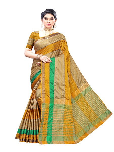 Buy Yellow Cotton Silk Stripes Saree Online from YOYO Fashion