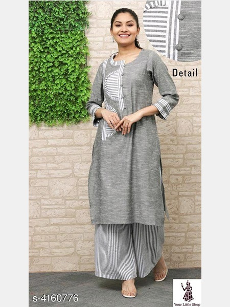 Buy Designer Grey Cotton Kurti Palazzo Online from YOYO Fashion