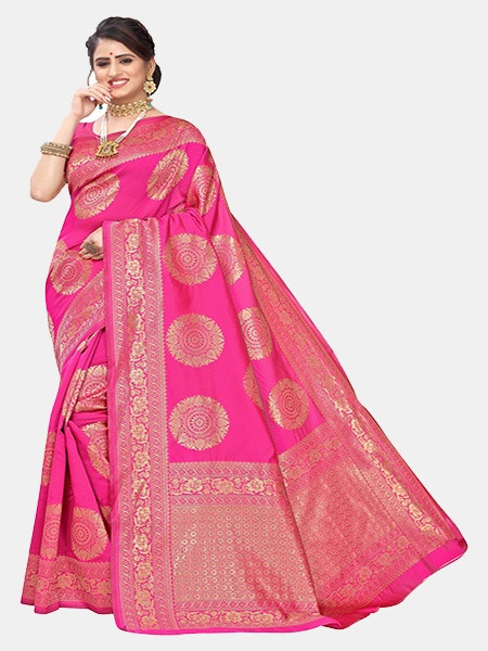 Buy Rani Pink and Golden Woven Jacquard Saree Online from YOYO Fashion