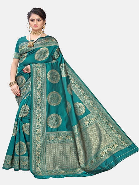 Buy Sea Green and Golden Woven Jacquard Saree Online from YOYO Fashion