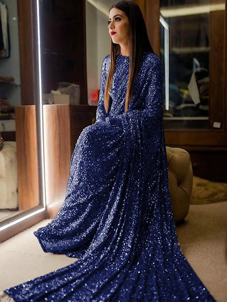 Buy Navy Blue Georgette Glitter Saree Online from YOYO Fashion