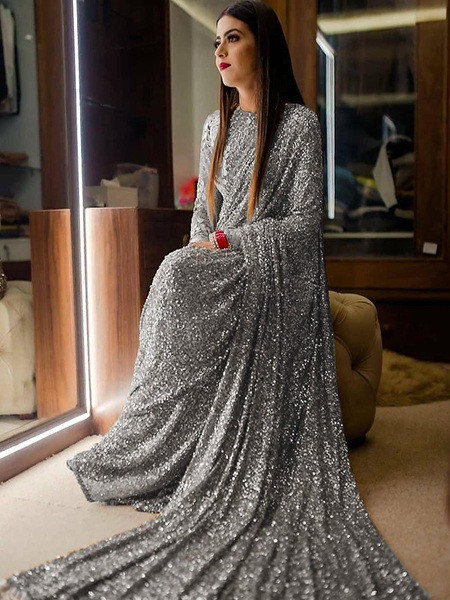 Buy Designer Grey Georgette Sequence Saree Online from YOYO Fashion