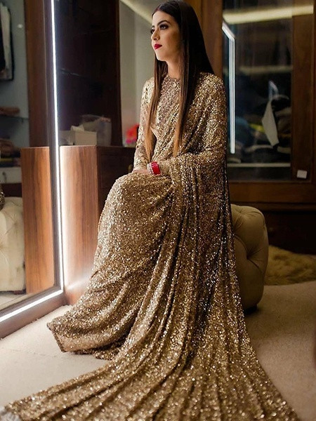 Sabyasachi Designer Gold Partywear Sequin Work Bollywood Clara Saree