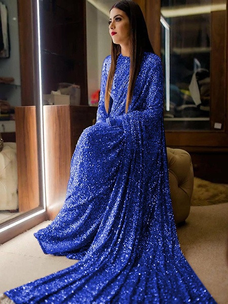 Buy Blue Heavy Sequins Work Georgette Saree Online from YOYO Fashion