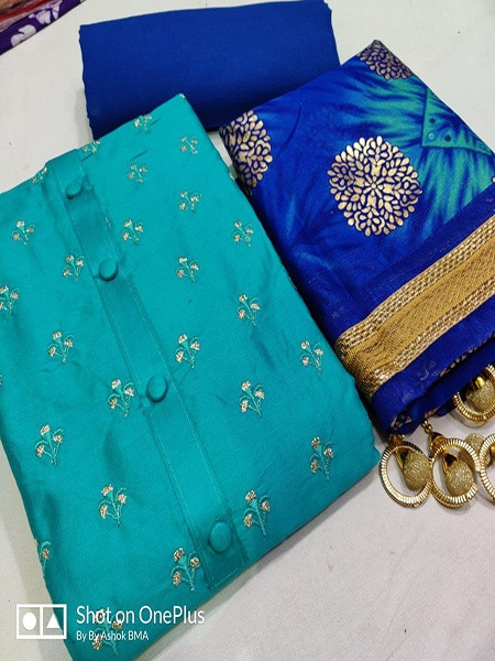 Buy Blue Embroidery Salwar Suit Material Online from YOYO Fashion